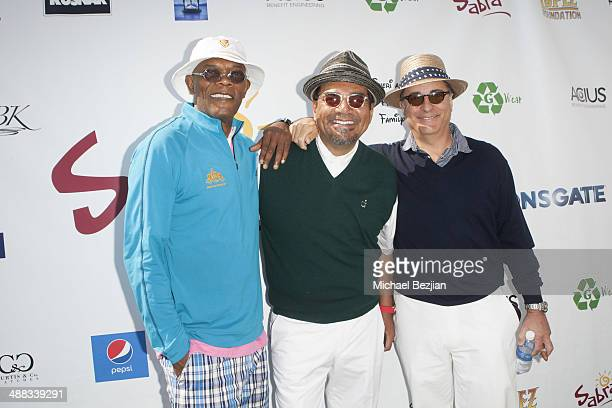 Actors Samuel L Jackson George Lopez and Andy Garcia arrive at the 7th Annual George Lopez Celebrity Golf Classic Presented by Sabra Salsa at...
