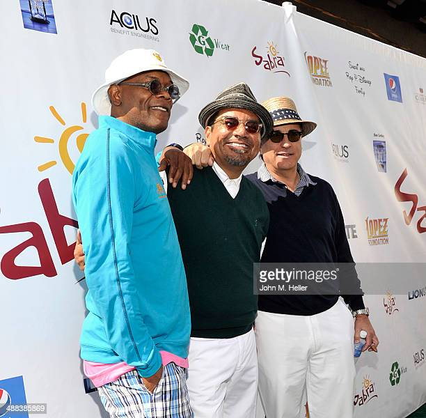 Actors Samuel L Jackson George Lopez and Andy Garcia attend the 7th Annual George Lopez Celebrity Golf Classic at Lakeside Golf Club on May 5 2014 in...