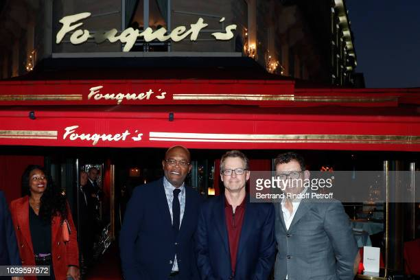 Actor Samuel L Jackson President Of Ryder Cup France Pascal Grizot and Actor Dany Boon attend 'Ryder Cup Dinner' at Fouquet's Barriere on September...