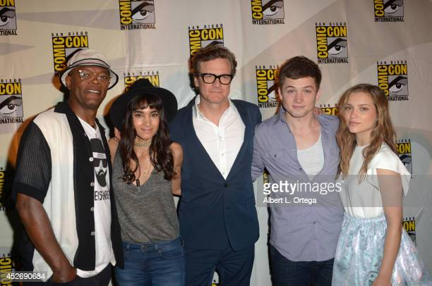 Actors Samuel L Jackson Sofia Boutella Colin Firth Taron Egerton and Sophie Cookson attend the 20th Century Fox presentation during ComicCon...