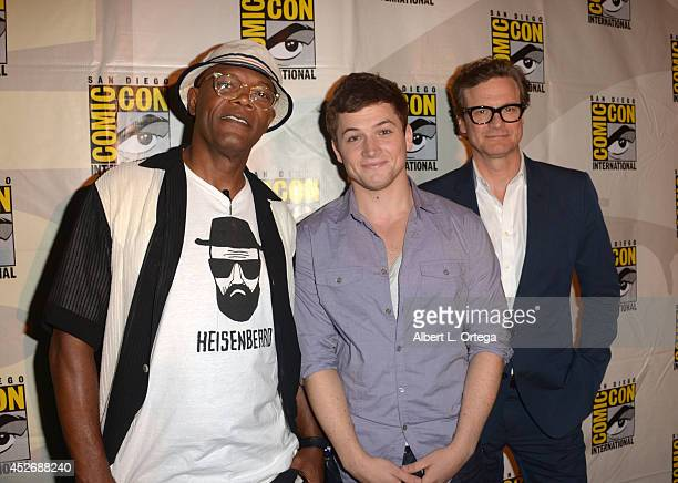 Actors Samuel L Jackson Taron Egerton and Colin Firth attend the 20th Century Fox presentation during ComicCon International 2014 at San Diego...