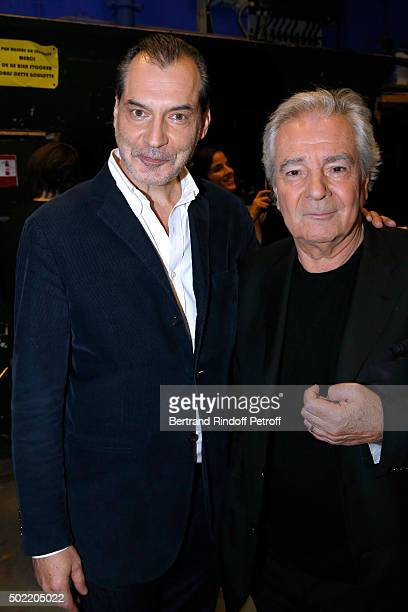 Actors Samuel Labarthe and Pierre Arditi attend the 'Vivement Dimanche' French TV Show at Pavillon Gabriel on December 21 2015 in Paris France