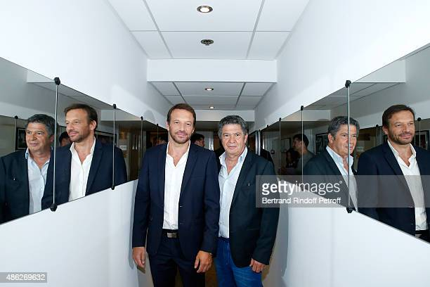 Actors Samuel Le Bihan and Lionel Astier present the France 2 TV Series 'Alex Hugo' during the 'Vivement Dimanche' French TV Show Held at Pavillon...