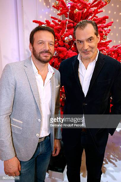 Actors Samuel Le Bihan and Samuel Labarthe attends the 'Vivement Dimanche' French TV Show at Pavillon Gabriel on December 21 2015 in Paris France