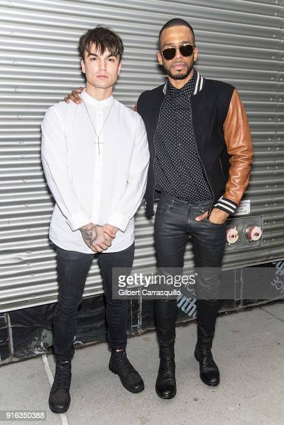 Actors Samuel Mancini and Eric West are seen arriving at the Concept Korea fashion show during New York Fashion Week The Shows at Gallery I at Spring...