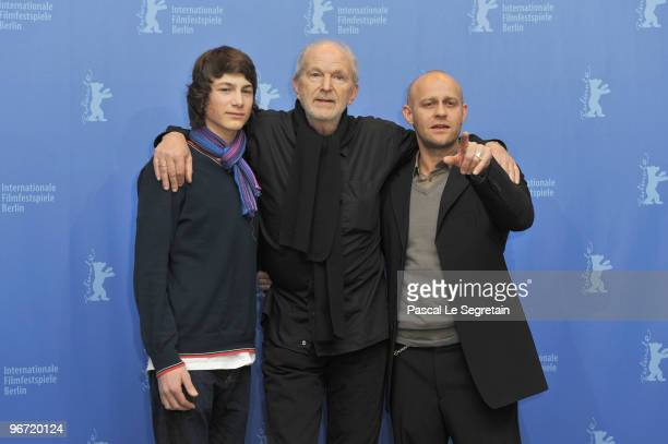 Actors Samuel Schneider Michael Gwisdek and Juergen Vogel attend the 'Boxhagener Platz' Photocall during day five of the 60th Berlin International...