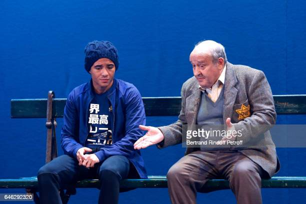 Actors Samy Seghir and Michel Jonasz perform during Les Fantomes de la rue Papillon Press Theater Play at Theatre du Gymnase MarieBell on February 21...