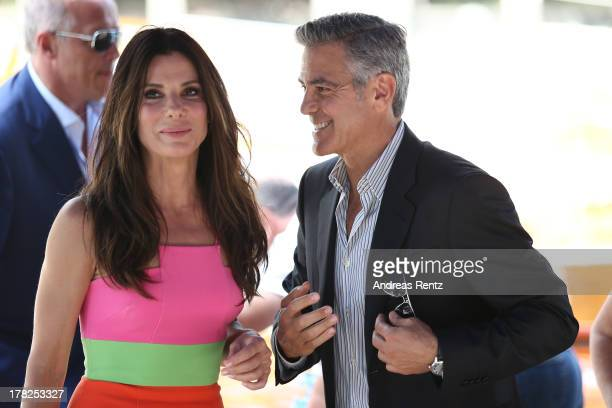 Actors Sandra Bullock and George Clooney arrive at the 'Gravity' photocall during the 70th Venice International Film Festival at the Palazzo del...