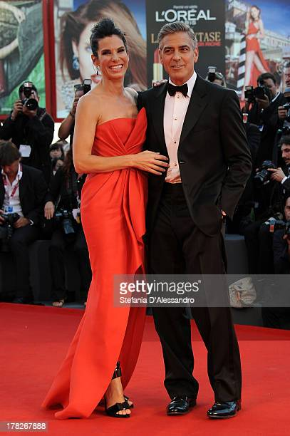 Actors Sandra Bullock and George Clooney attend 'Gravity' premiere and Opening Ceremony during The 70th Venice International Film Festival at Sala...