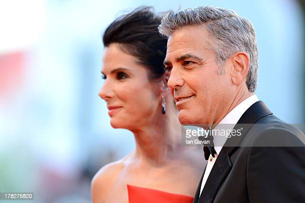 Actors Sandra Bullock and George Clooney attend the Opening Ceremony And 'Gravity' Premiere during the 70th Venice International Film Festival at the...