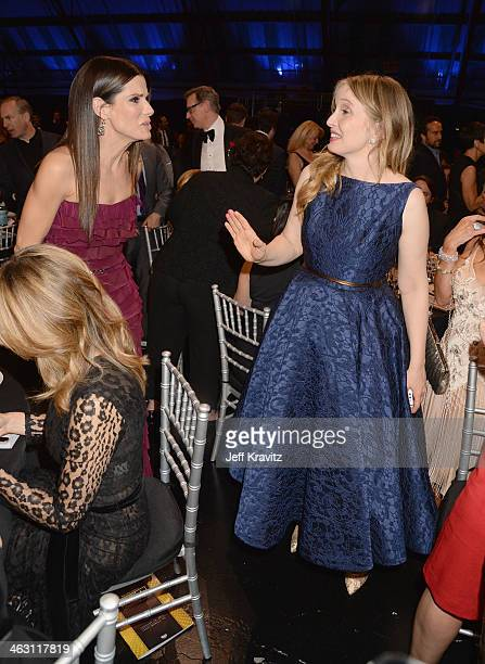 Actors Sandra Bullock and Julie Delpy attend the 19th Annual Critics' Choice Movie Awards at Barker Hangar on January 16 2014 in Santa Monica...