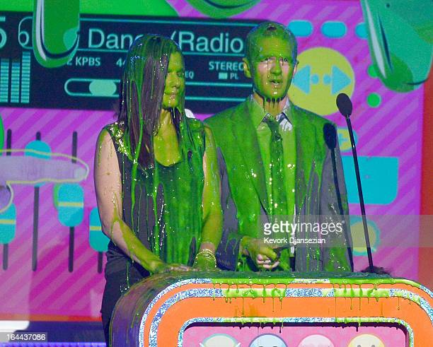 Actors Sandra Bullock and Neil Patrick Harris speak onstage during Nickelodeon's 26th Annual Kids' Choice Awards at USC Galen Center on March 23 2013...