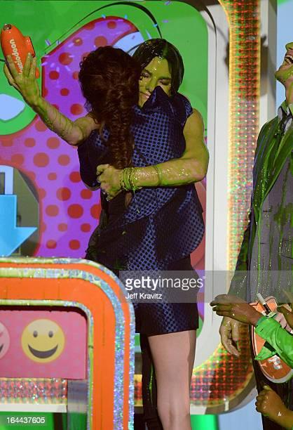 Actors Sandra Bullock Kristen Stewart and Neil Patrick Harris speak onstage at Nickelodeon's 26th Annual Kids' Choice Awards at USC Galen Center on...