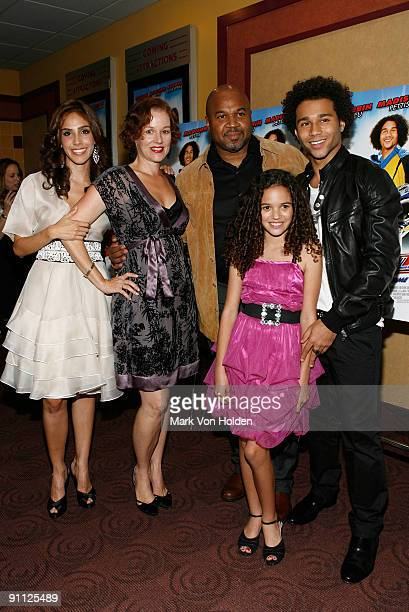 Actors Sandra Echeverria and Penelope Ann Miller producer David Reivers and actors Madison Pettis and Corbin Bleu attend the Free Style premiere at...