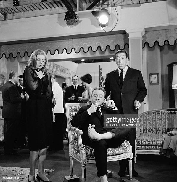 Actors Sandra Milo Maurice Chevit and Fernandel On the Set of the Movie 'RelaxeToi Chérie' Directed By Jean Boyer in Paris France in 1964