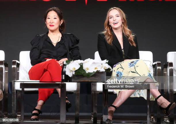 Actors Sandra Oh and Jodie Comer of 'Killing Eve' speak onstage during the BBC America portion of the 2018 Winter Television Critics Association...