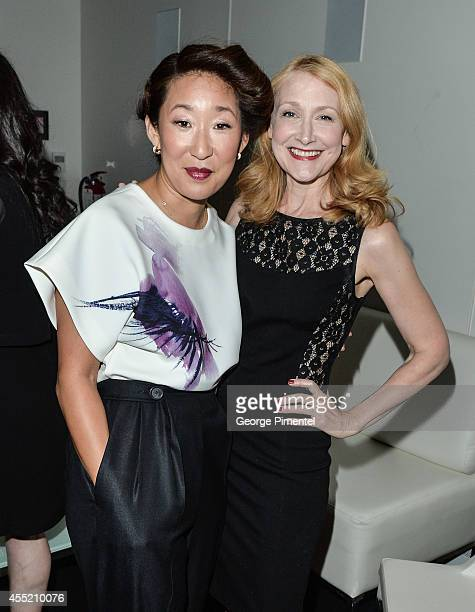 Actors Sandra Oh and Patricia Clarkson attend the Ebert Dinner Hosted By Chaz Ebert And Martin Scorsese during the 2014 Toronto International Film...