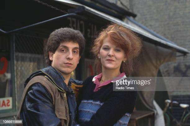 Actors Sandy Ratcliff and Nejdet Salih pictured on the set of the BBC soap opera 'EastEnders' 1985