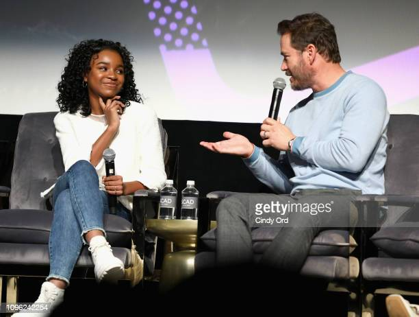 Actors Saniyya Sidney and MarkPaul Gosselaar speak onstage at The Passage screening during SCAD aTVfest 2019 at SCADshow on February 8 2019 in...
