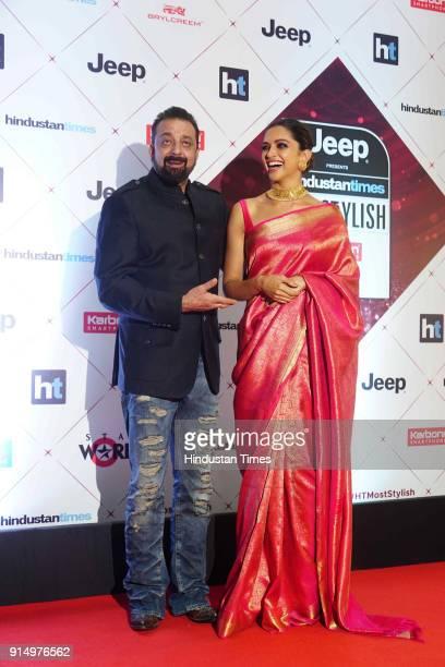 Actors Sanjay Dutt and Deepika Padukone during Hindustan Times India's Most Stylish Awards 2018 at Yash Raj Studios Andheri on January 24 2018 in...