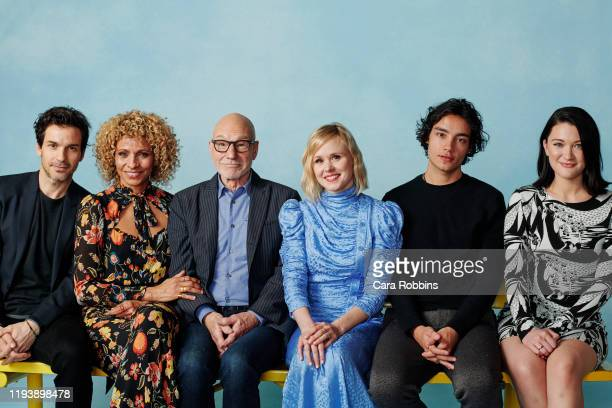 """Actors Santiago Cabrera, Michelle Hurd, Patrick Stewart, Isa Briones, Alison Pill and Evan Evagora of CBS's """"Picard"""" pose for a portrait during the..."""