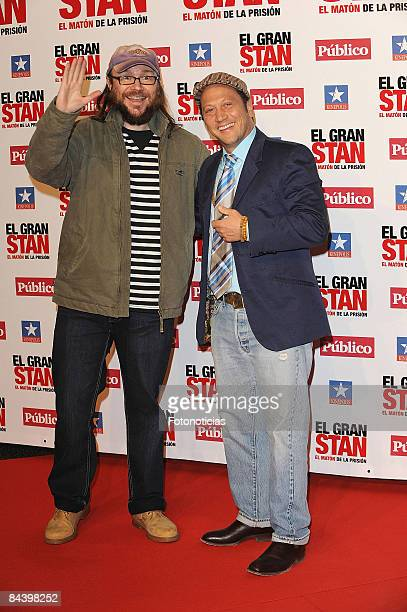 Actors Santiago Segura and Rob Schneider attend 'Big Stan' premiere at Kinepolis Cinema on January 21 2009 in Madrid Spain