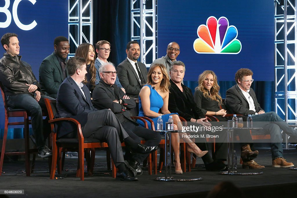 Actors Santino Fontana, Dayo Okeniy, Sarah Jeffery, Warren Kole, Vincent Laresca and Hampton Fluker (L-R front) Executive producer Jack Orman, director/executive producer Barry Levinson, executive producer/actress Jennifer Lopez, actors Ray Liotta, Drea de Matteo and creator/executive producer Adi Hasak speak onstage during the 'Shades of Blue' panel discussion at the NBCUniversal portion of the 2015 Winter TCA Tour at Langham Hotel on January 13, 2016 in Pasadena, California.