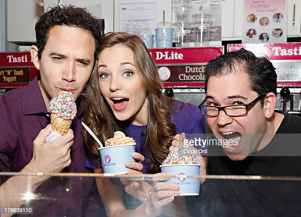 Actors Santino Fontana Laura Osnes and Musical Director Andy Einhorn attend the unveiling of the flavor for Broadway's Cinderella at Tasti DLite...