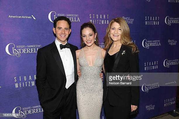 Actors Santino Fontana Laura Osnes and Victoria Clark attend the after party for the Cinderella Broadway Opening Night at Gotham Hall on March 3 2013...
