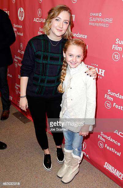 Actors Saoirse Ronan and Avery Phillips attend the Stockholm Pennylvania Premiere during the 2015 Sundance Film Festival at the Eccles Center Theatre...