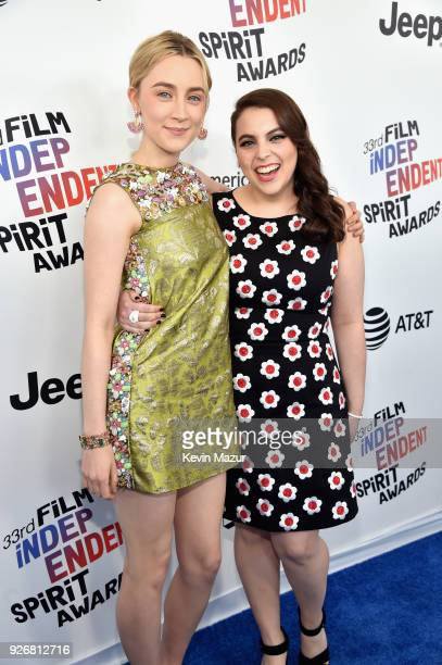 Actors Saoirse Ronan and Beanie Feldstein attend the 2018 Film Independent Spirit Awards on March 3 2018 in Santa Monica California