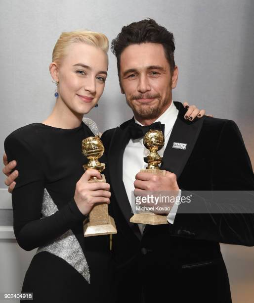 Actors Saoirse Ronan and James Franco celebrate The 75th Annual Golden Globe Awards with Moet Chandon at The Beverly Hilton Hotel on January 7 2018...