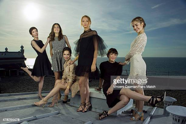 Actors Sara Giraudeau, Alma Jodorowsky, Lola Le Lann, Josephine Japy, Alice Isaaz and Sophie Verbeeck are photographed for Paris Match on June 13,...