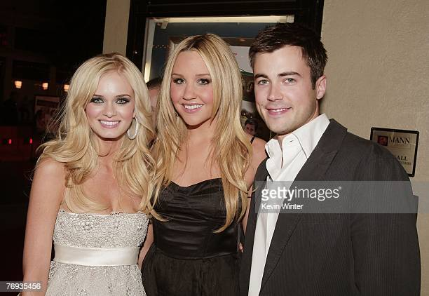 Actors Sara Paxton Amanda Bynes and Matt Long pose at the premiere of Universal Pictures and Morgan Creek Production's Sydney White at the Mann Bruin...