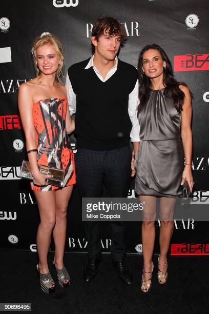 Actors Sara Paxton Ashton Kutcher and Demi Moore attend The CW's The Beautiful Life TBL series premiere at Simyone Lounge on September 12 2009 in New...