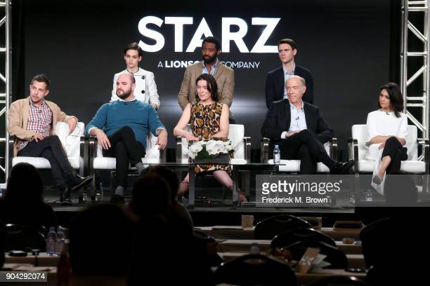 Actors Sara Serraiocco Nicholas Pinnock and Harry Lloyd and executive producer/creator Justin Marks executive producer Jordan Horowitz and actors...
