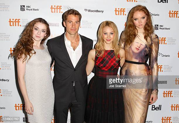 Actors Sarah Bolger Scott Speedman Sarah Gadon and Lily Cole arrive at 'The Moth Diaries' Premiere at Isabel Bader Theatre during the 2011 Toronto...
