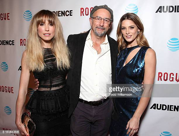 Actors Sarah Carter Richard Schiff and Ashley Greene attend the premiere Of DirecTV's 'Rogue' at The London Hotel on March 16 2016 in West Hollywood...