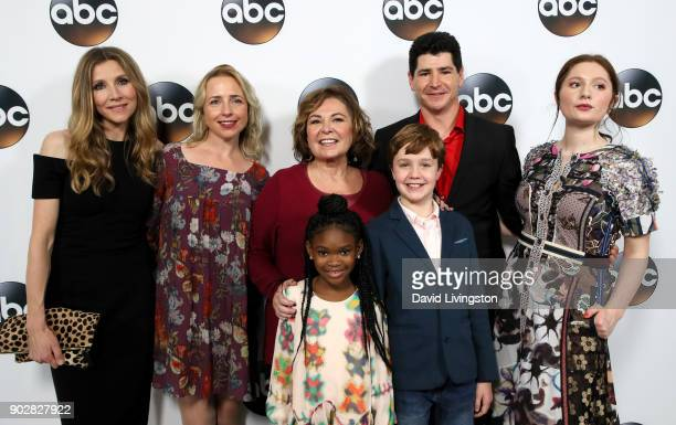 Actors Sarah Chalke Alicia Goranson Roseanne Barr Jayden Rey Ames McNamara Michael Fishman and Emma Kenney attend Disney ABC Television Group's TCA...