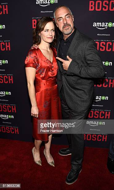 Actors Sarah Clarke and Titus Welliver attend the Premiere Of Amazon's 'Bosch' Season 2 at SilverScreen Theater at the Pacific Design Center on March...
