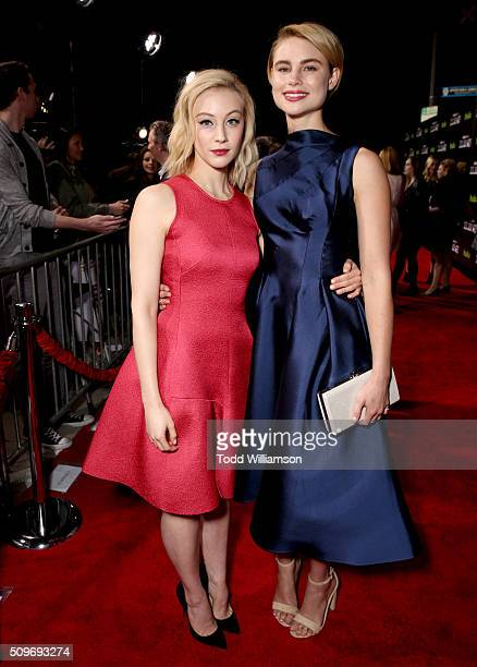 Actors Sarah Gadon and Lucy Fry attend the Hulu Original '112263' premiere at the Regency Bruin Theatre on February 11 2016 in Los Angeles California