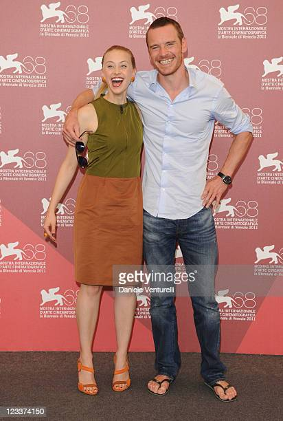 """Actors Sarah Gadon and Michael Fassbender attend the """"A Dangerous Method"""" photocall during the 68th Venice International Film Festival at Palazzo del..."""