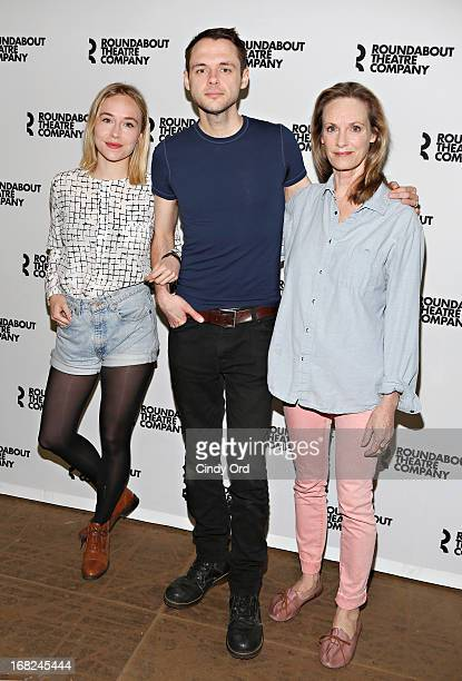 Actors Sarah Goldberg Christopher Denham and Lisa Emery attend The Unavoidable Disappearance of Tom Durnin OffBroadway Cast Photo Call on May 7 2013...