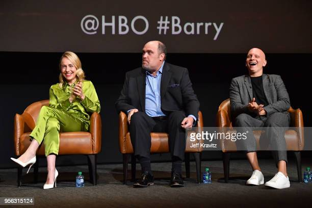 Actors Sarah Goldberg Glenn Fleshler and Anthony Carrigan speak onstage in a panel discussion for BARRY FYC at Wolf Theatre on May 8 2018 in North...