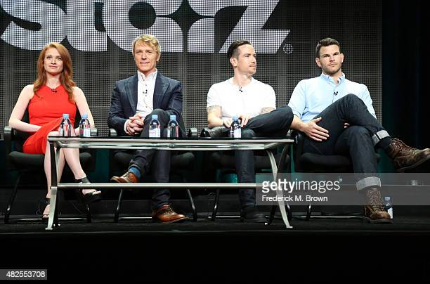 Actors Sarah Hay Ben Daniels Sascha Radetsky and Josh Helman speak onstage during the 'Flesh and Bone' panel discussion at the STARZ portion of the...