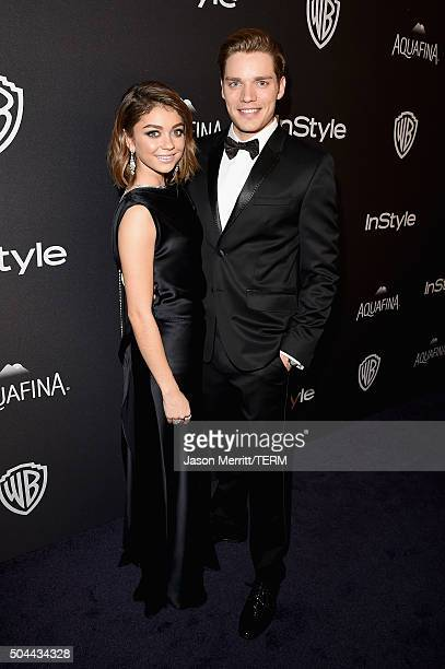 Actors Sarah Hyland and Dominic Sherwood attend The 2016 InStyle And Warner Bros 73rd Annual Golden Globe Awards PostParty at The Beverly Hilton...