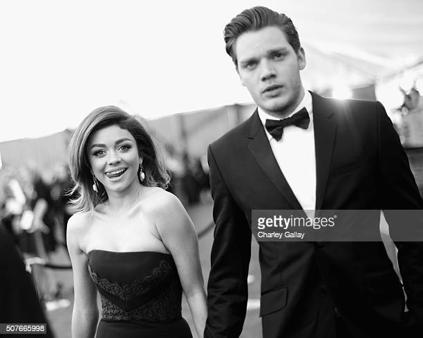 Actors Sarah Hyland and Dominic Sherwood attend The 22nd Annual Screen Actors Guild Awards at The Shrine Auditorium on January 30 2016 in Los Angeles...