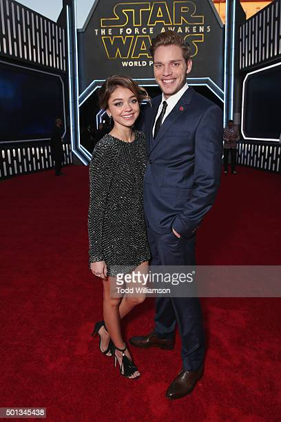 Actors Sarah Hyland and Dominic Sherwood attend the premiere of Walt Disney Pictures and Lucasfilm's 'Star Wars The Force Awakens' at the Dolby...