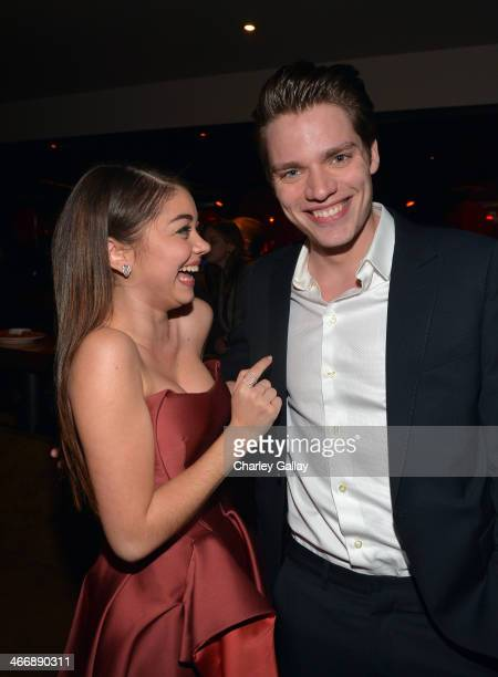 Actors Sarah Hyland and Dominic Sherwood attend The Weinstein Company's premiere of 'Vampire Academy' after party at Lucky Strike Lanes Lounge at LA...