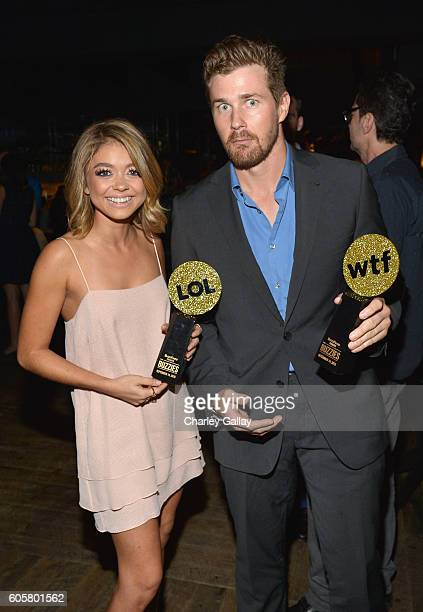 Actors Sarah Hyland and Josh Kelly attend The Buzzies BuzzFeed's PreEmmy party produced by PenPublic at HYDE Sunset Kitchen Cocktails on September 14...